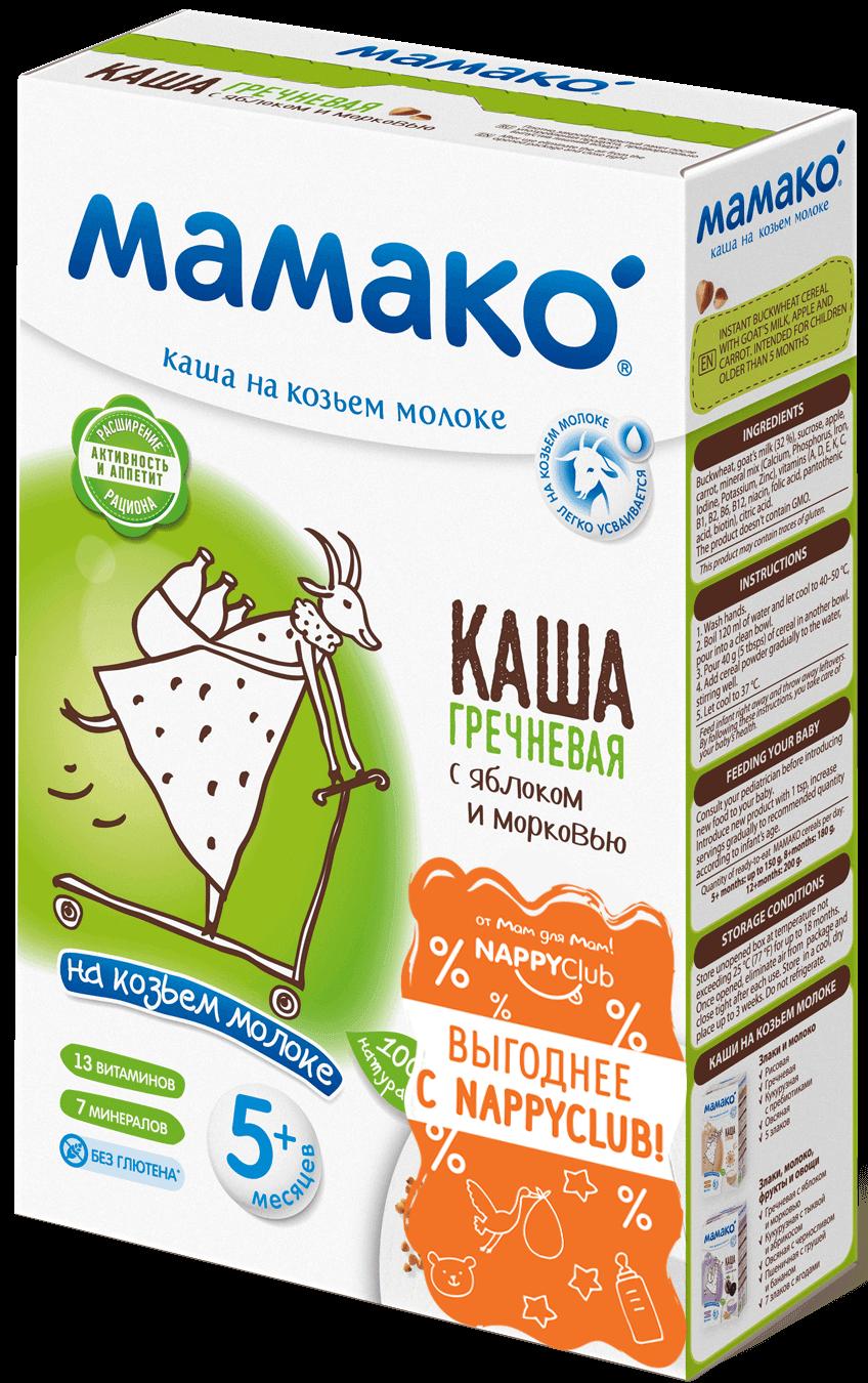 Каша гречневая <br>с яблоком и морковью на козьем молоке Мамако фото