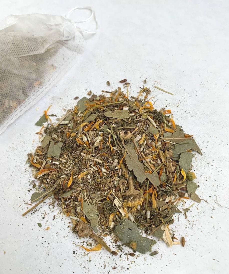 Картинка - Сбор трав для купания Чистая Кожа, 5 пакетиков по 10 гр